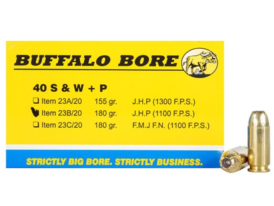 Buffalo Bore Ammunition 40 S&W +P 180 Grain Jacketed Hollow Point Box of 20