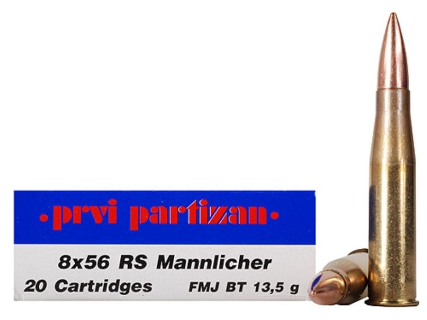Prvi Partizan Ammunition 8x56mm Rimmed Hungarian (RS Mannlicher) 208 Grain Full Metal J...