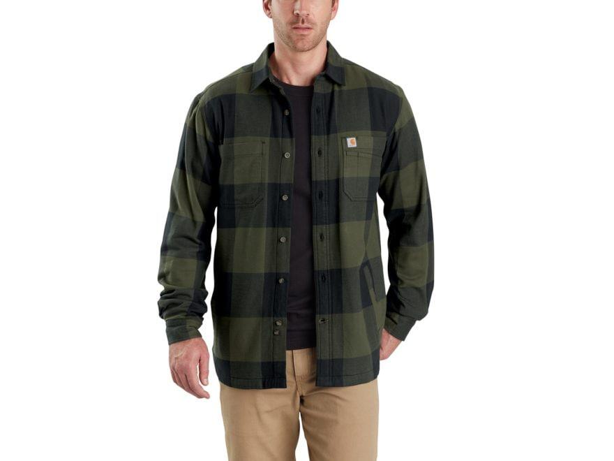 Carhartt Men's Rugged Flex Hamilton Fleece-Lined Button-Up Shirt Long Sleeve Cotton/Spa...