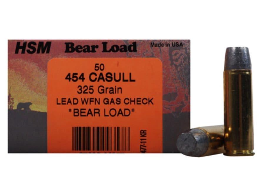 HSM Bear Ammunition 454 Casull 325 Grain Lead Wide Flat Nose Gas Check Box of 50