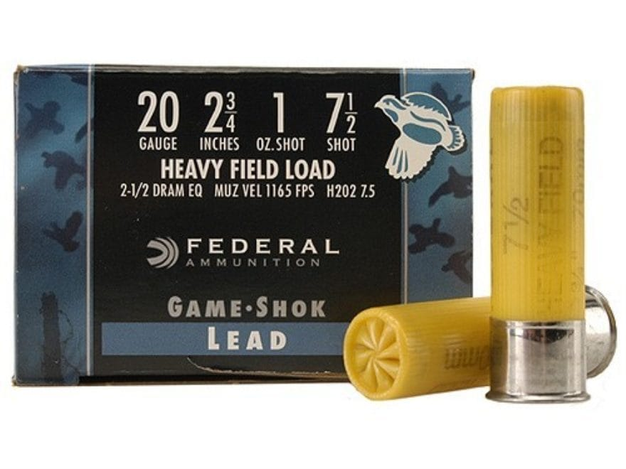 "Federal Game-Shok Heavy Field Load Ammunition 20 Gauge 2-3/4"" 1 oz"