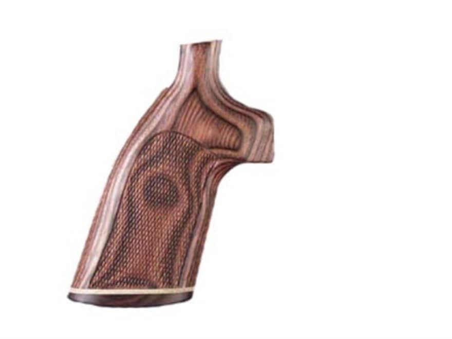 Hogue Fancy Hardwood Grips with Accent Stripe Colt 38 SF-VI Checkered Rosewood Laminate