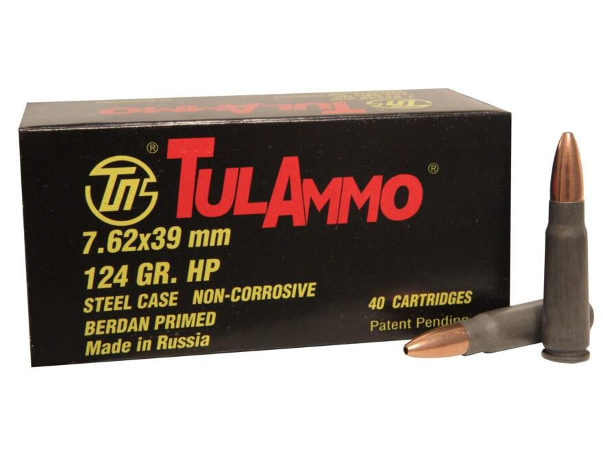 TulAmmo Ammunition 7.62x39mm 124 Grain Hollow Point (Bi-Metal) Steel Case Berdan Primed