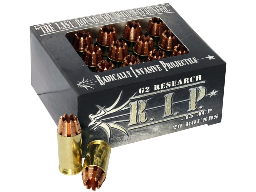 G2 Research R.I.P. Ammunition 45 ACP 162 Grain Radically Invasive Projectile Fragmentin...