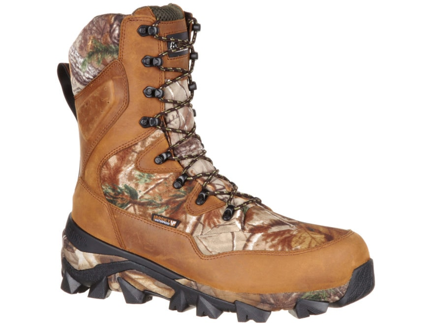 "Rocky Claw 10"" Waterproof 400 Gram Insulated Hunting Boots Realtree Xtra/Brown Leather/..."