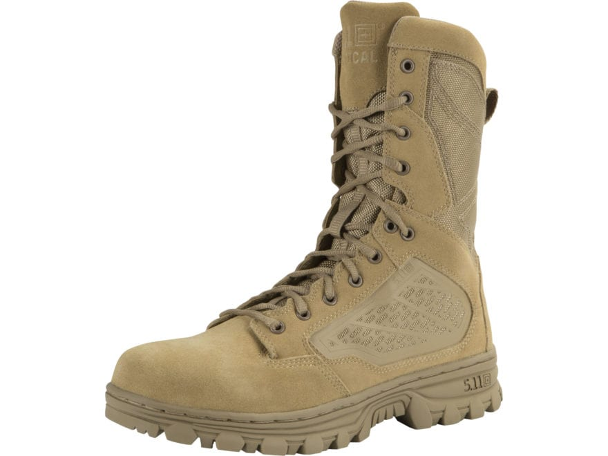 "5.11 EVO 8"" Desert Side Zip  Tactical Boots Leather and Nylon Coyote Men's"