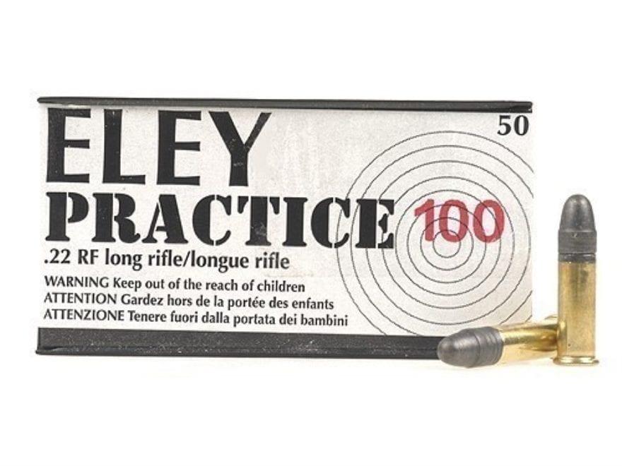 Eley Practice 100 Ammunition 22 Long Rifle 40 Grain Lead Round Nose Case of 500 (10 Box...