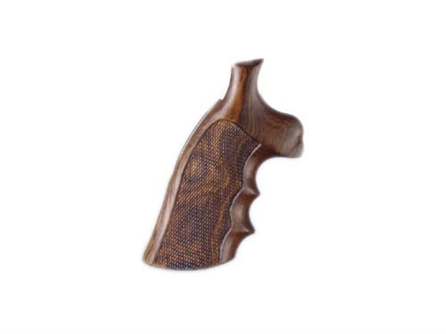 Hogue Fancy Hardwood Grips with Finger Grooves S&W N-Frame Round Butt Checkered