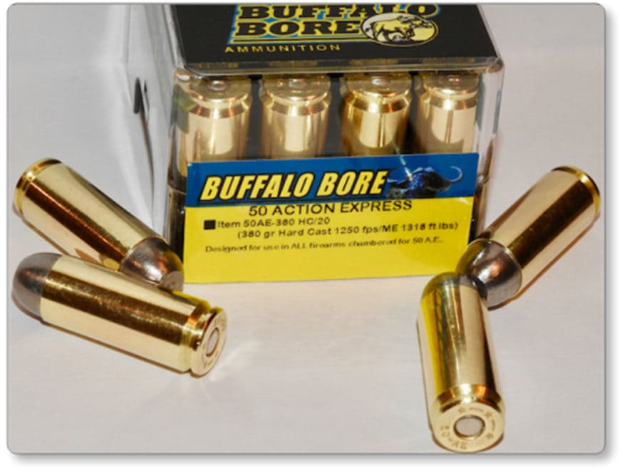 Buffalo Bore Ammunition 50 Action Express 380 Grain Hard Cast Lead Flat Nose Box of 20