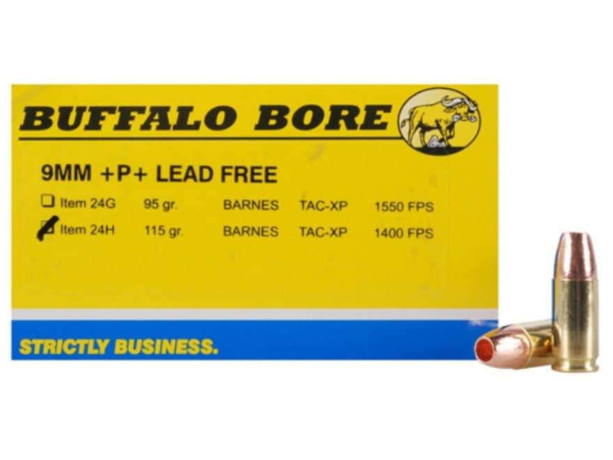 Buffalo Bore Ammunition 9mm Luger +P+ 115 Grain Barnes TAC-XP Hollow Point Lead-Free Bo...