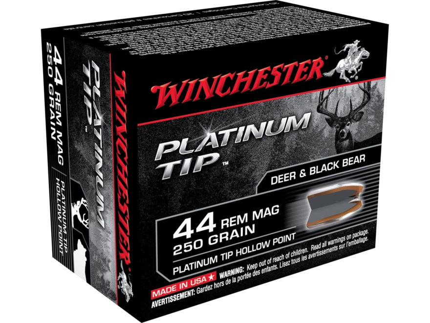 Winchester Ammunition 44 Remington Magnum 250 Grain Platinum Tip Hollow Point