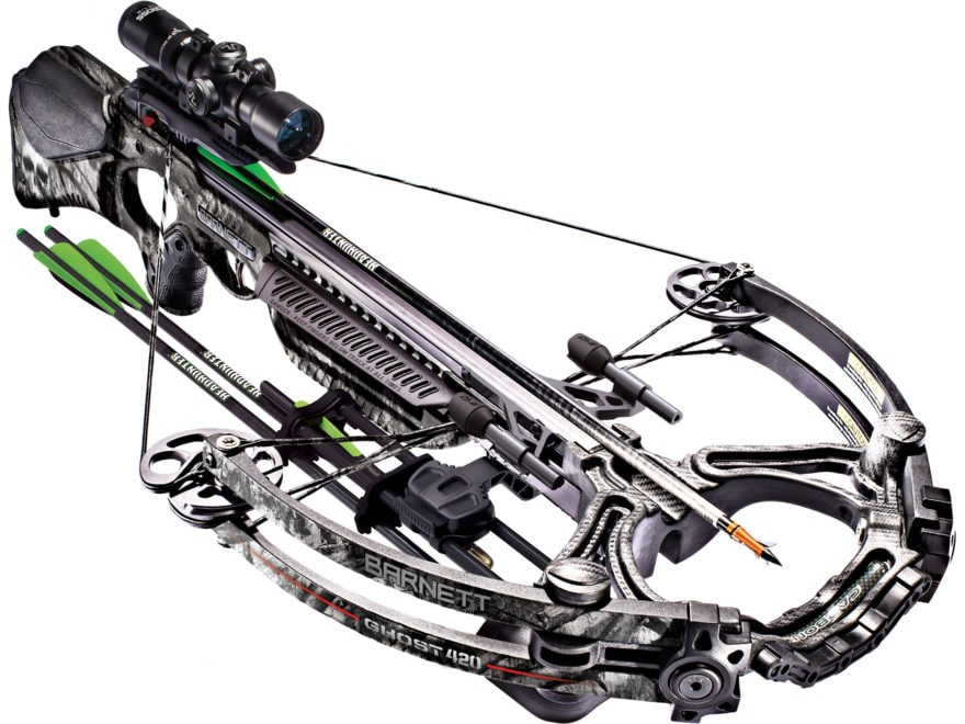 Barnett Ghost 420 Crossbow Package with 1.5-5x32 Illuminated Scope Mossy Oak Treestand ...