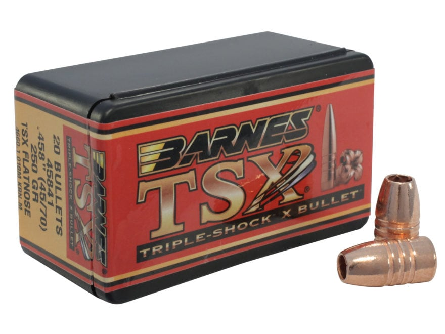 Barnes Triple-Shock X (TSX) Bullets 45-70 Caliber (458 Diameter) 250 Grain Flat Nose Le...