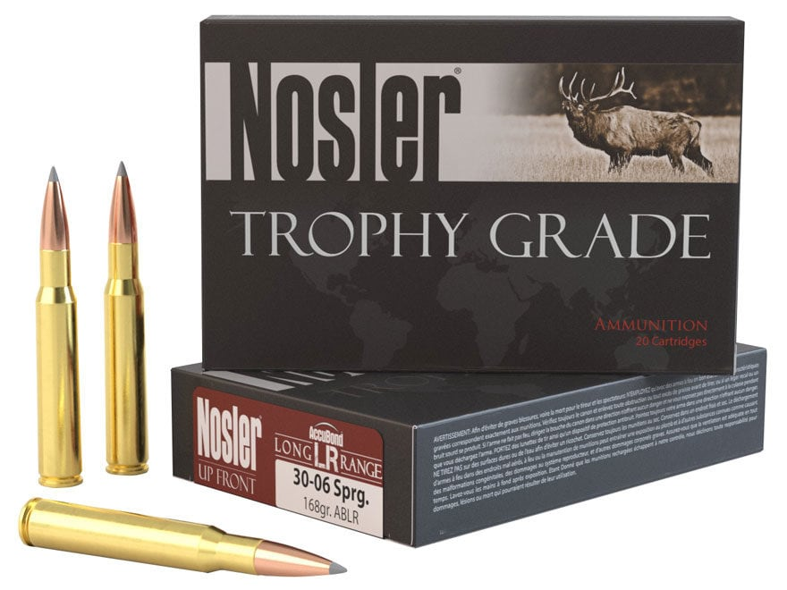 Nosler Trophy Grade Ammunition 30-06 Springfield 168 Grain AccuBond Long Range Box of 20