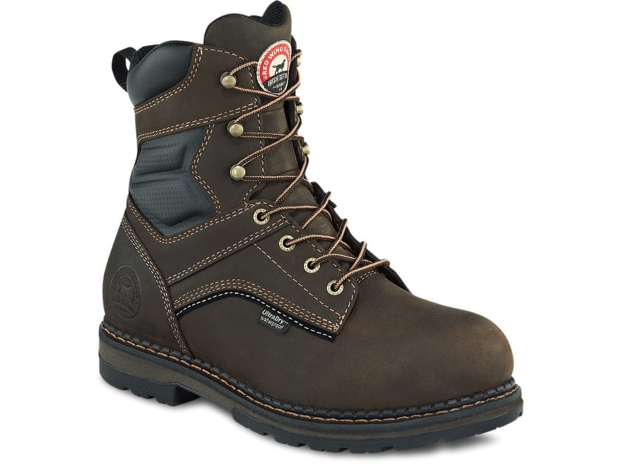 "Irish Setter Ramsey 8"" Waterproof Aluminum Toe Work Boots Leather Brown Men's"