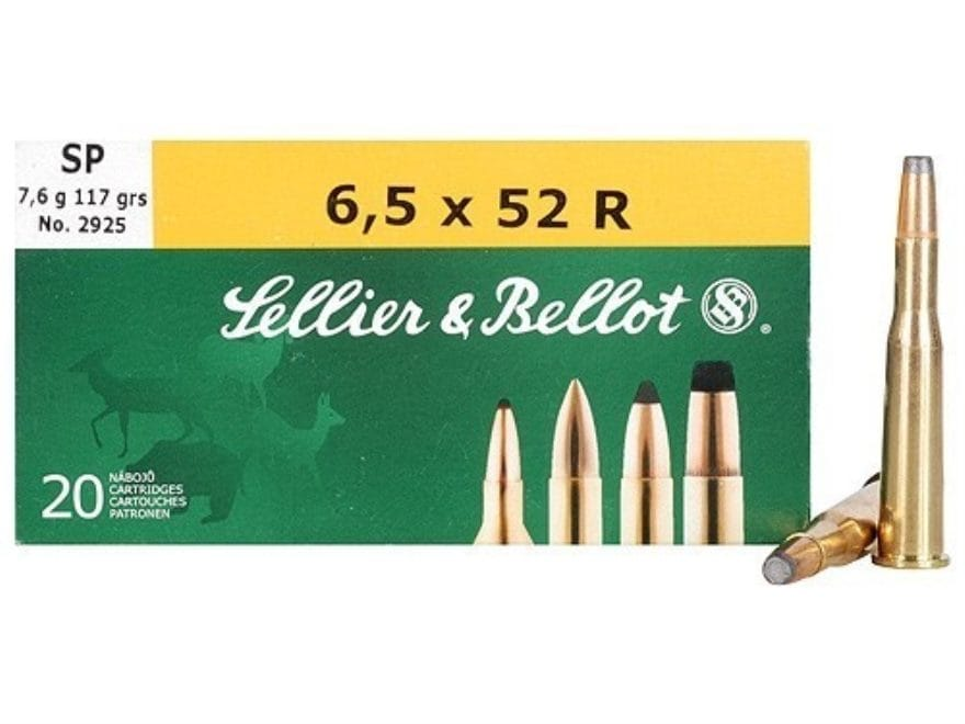 Sellier & Bellot Ammunition 6.5x52mm Rimmed 117 Grain Soft Point Box of 20