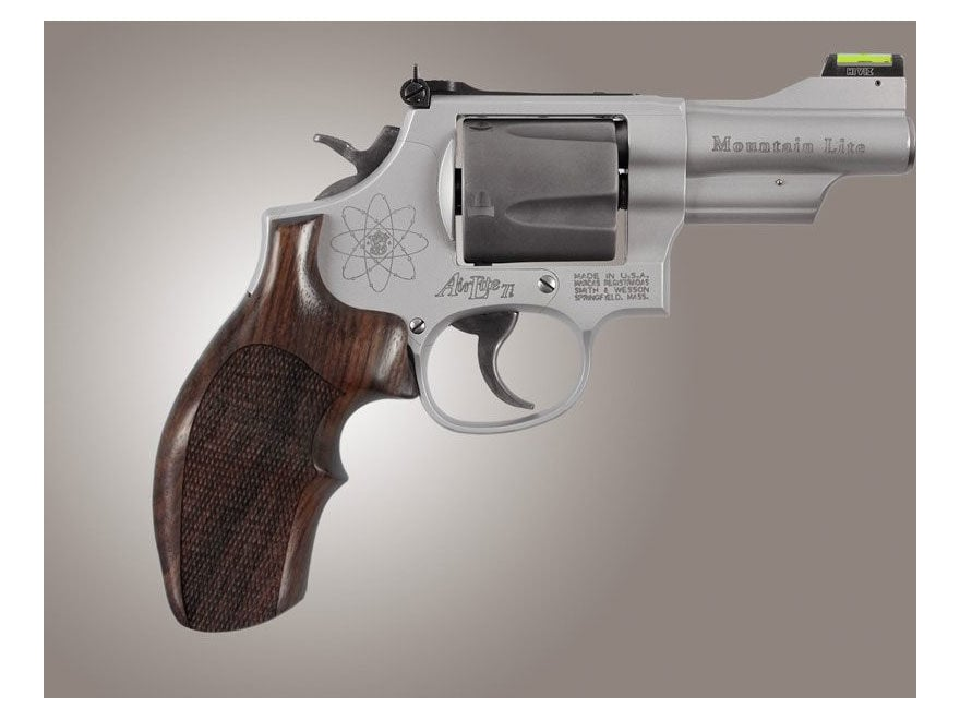 Hogue Fancy Hardwood Grips with Top Finger Groove S&W K, L-Frame Round Butt Checkered