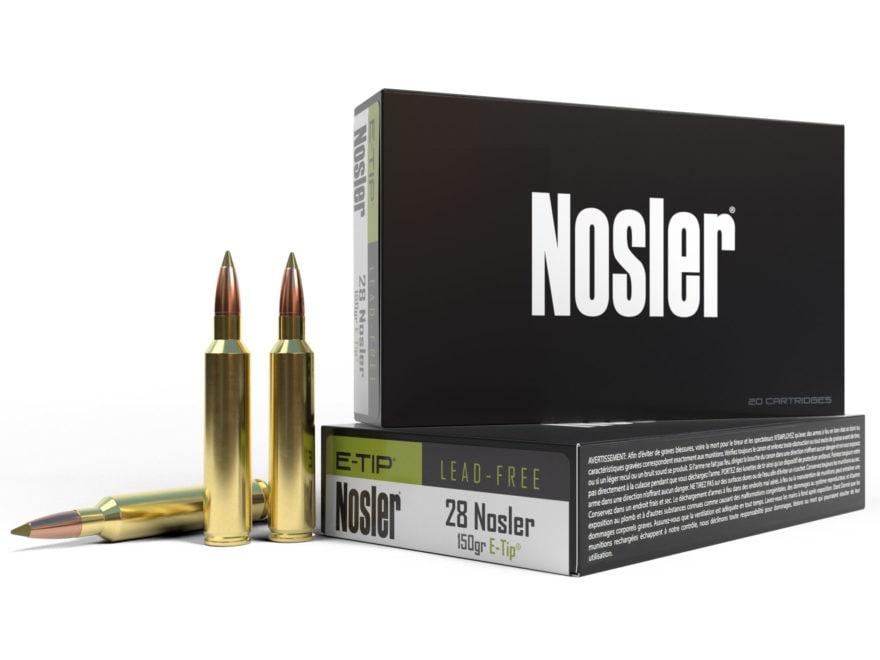Nosler E-Tip Ammunition 28 Nosler 150 Grain E-Tip Lead-Free Box of 20