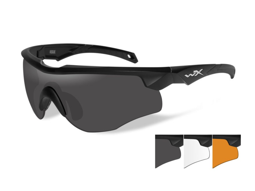 a6ddd711ff0 Wiley X WX Rogue Shooting Glasses Matte Black Frame Smoke Gray Clear