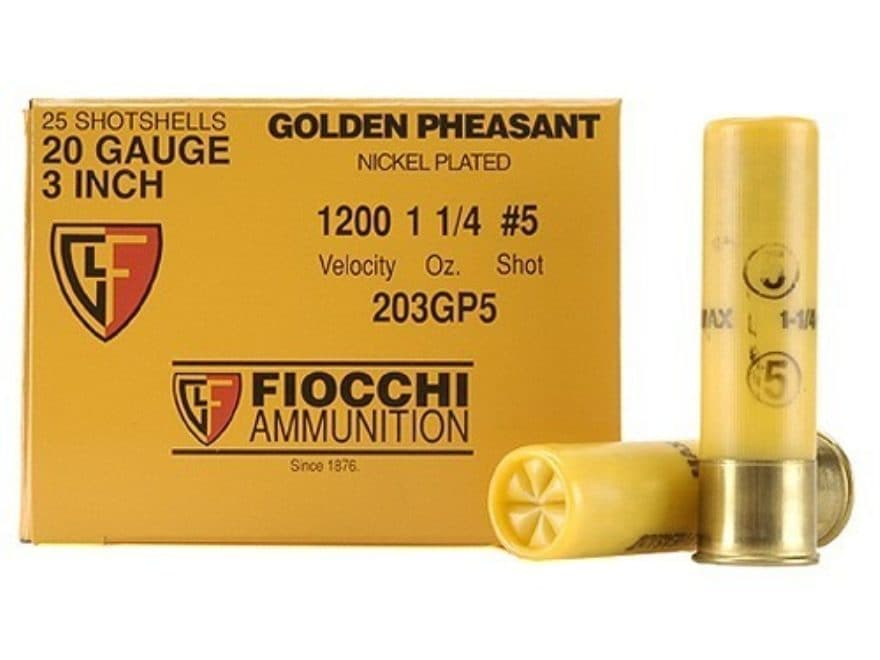 "Fiocchi Golden Pheasant Ammunition 20 Gauge 3"" 1-1/4 oz #5 Nickel Plated Shot Box of 25"