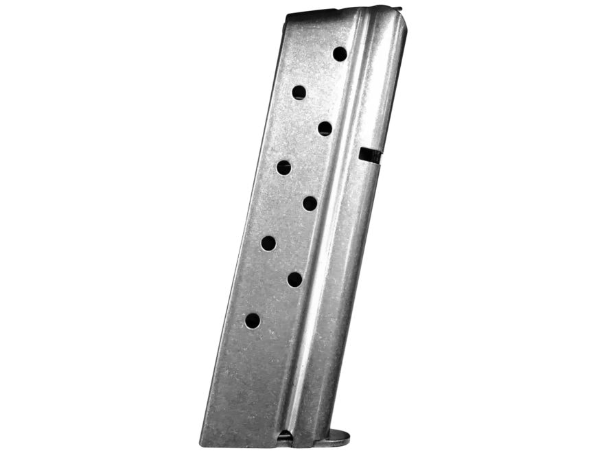 Metalform Magazine 1911 Government, Commander 9mm Luger 9-Round Stainless Steel Flat Fo...