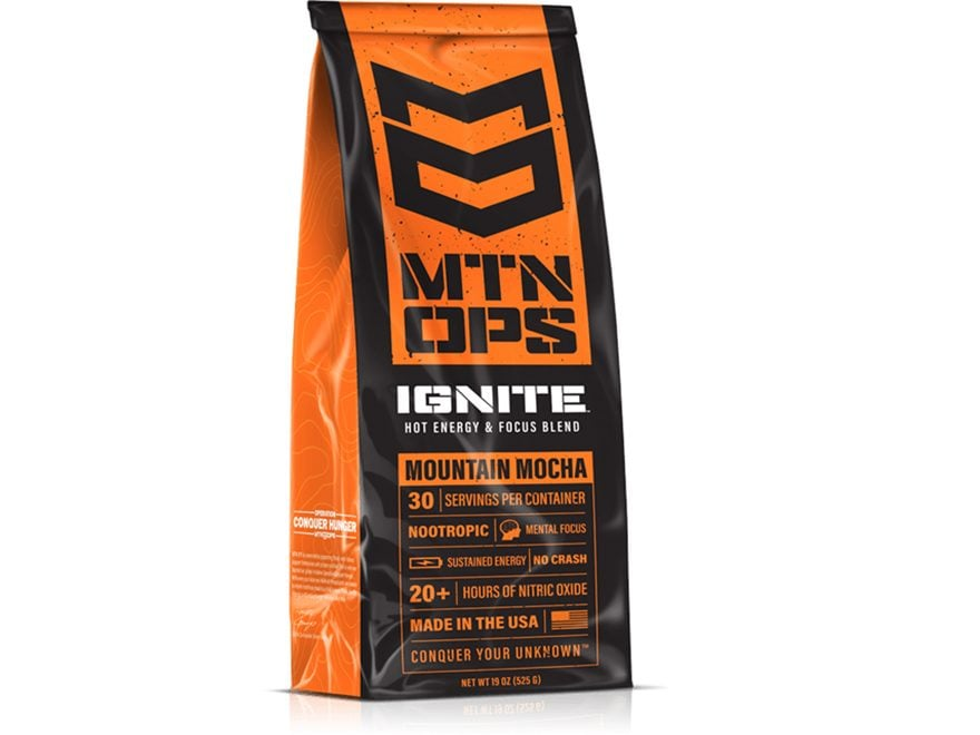 MTN OPS Hot Ignite Energy Focus & Hydration Supplement Mountain Mocha 30 Serving