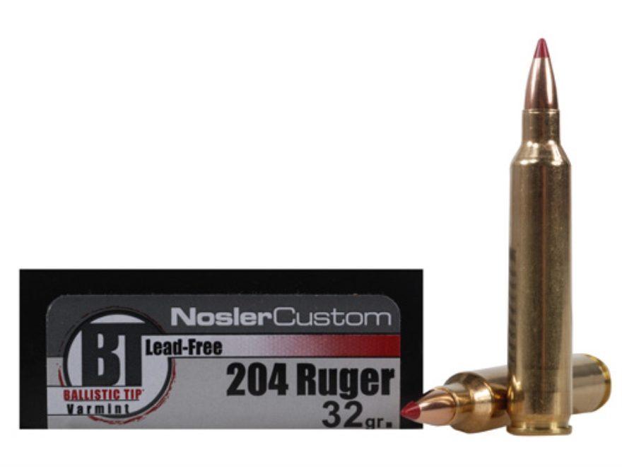 Nosler Trophy Grade Ammunition 204 Ruger 32 Grain Ballistic Tip Varmint Lead-Free Box o...