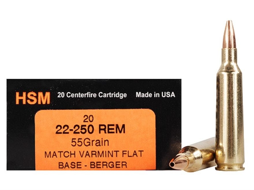hsm varmint gold ammunition 22 250 remington 55 grain berger varmint hollow point flat base box of 20