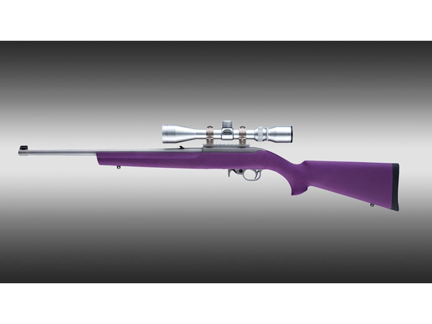 "Hogue Rubber OverMolded Rifle Stock Ruger 10/22 .920"" Barrel Channel Synthetic Purple"