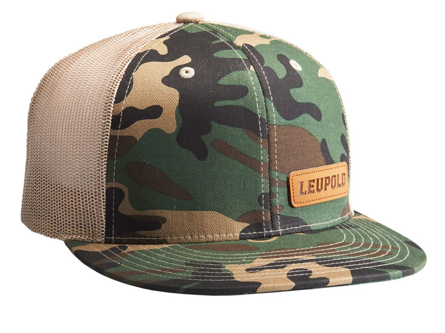Leupold Leather Patch Logo Trucker Hat Camo/Khaki