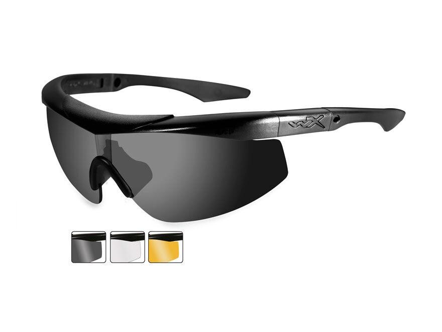 b30f26b5af84 Wiley X WX Talon Sunglasses Matte Black Frame Smoke Gray, Clear and Light  Rust Lens