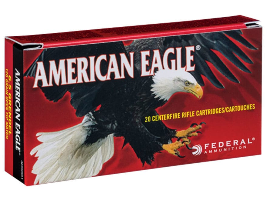 Federal American Eagle Ammunition 6.5 Grendel 120 Grain Open Tip Match Box of 20