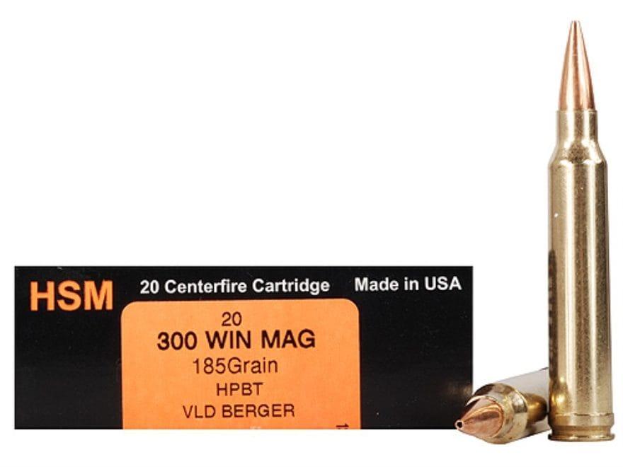 HSM Trophy Gold Ammunition 300 Winchester Magnum 185 Grain Berger Hunting VLD Hollow Po...