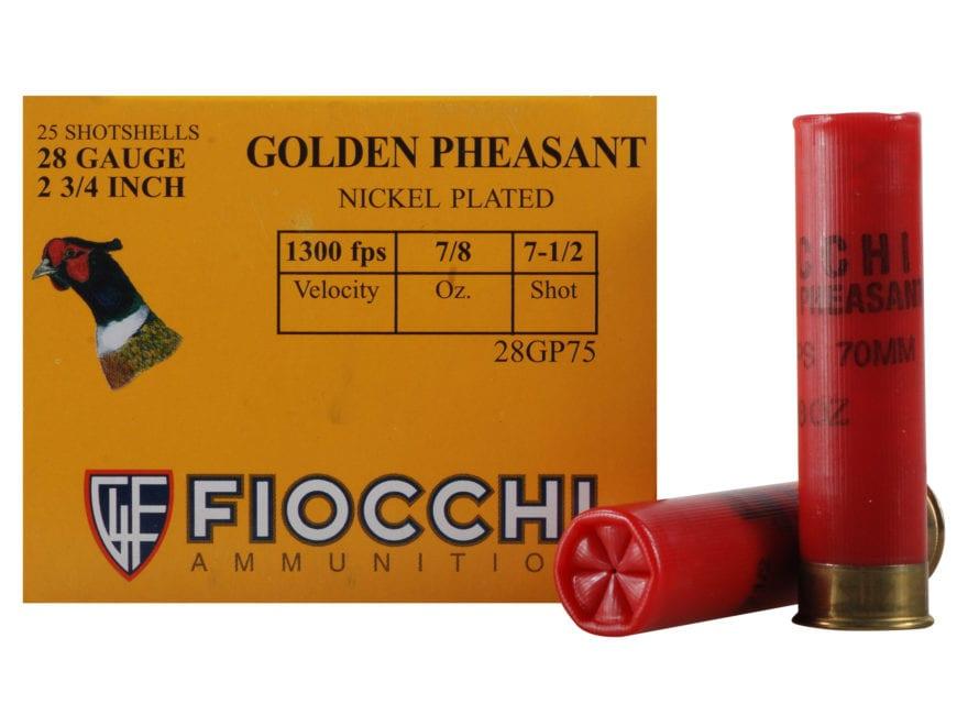 "Fiocchi Golden Pheasant Ammunition 28 Gauge 2-3/4"" 7/8 oz #7-1/2 Nickel Plated Shot Box..."