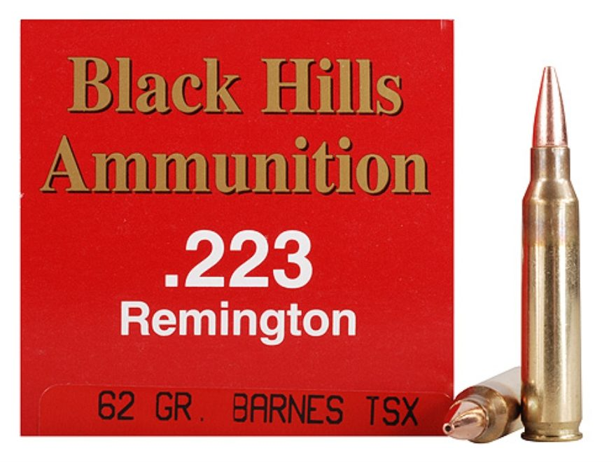 Black Hills Ammunition 223 Remington 62 Grain Barnes TSX Hollow Point Boat Tail Lead-Fr...