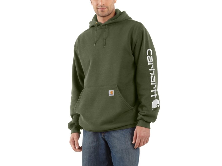 Carhartt Men's Signature Sleeve Hooded Logo Sweatshirt Cotton/Polyester