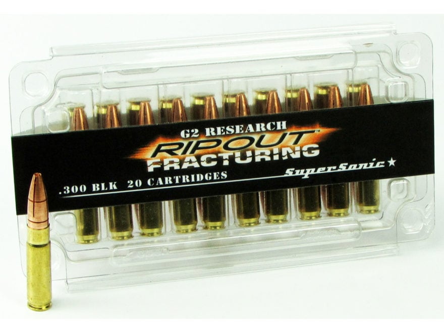 G2 Research RIP-OUT Ammunition 300 AAC Blackout 110 Grain Fracturing Solid Copper Lead-...
