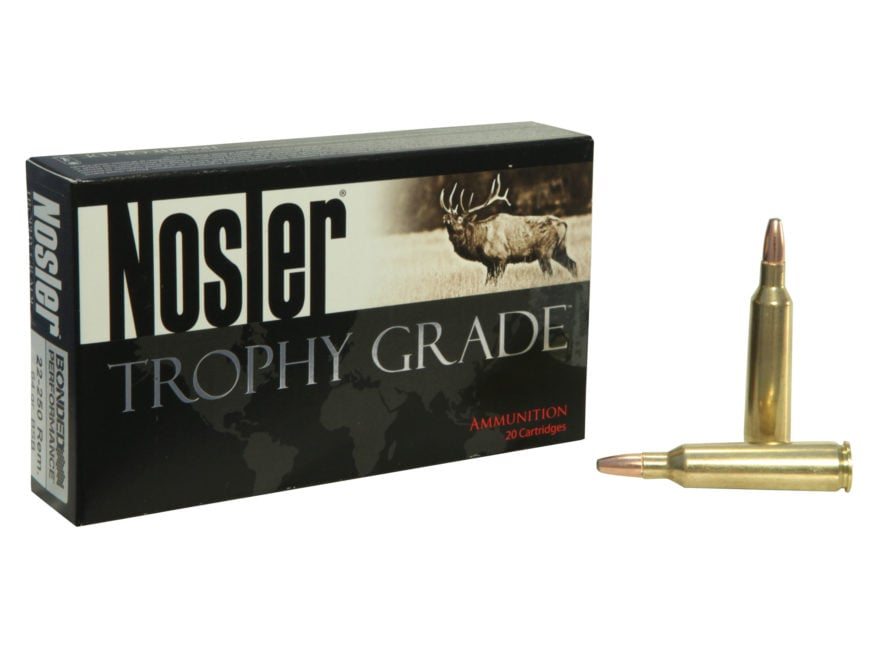 Nosler Trophy Grade Ammunition 22-250 Remington 64 Grain Bonded Solid Base Box of 20