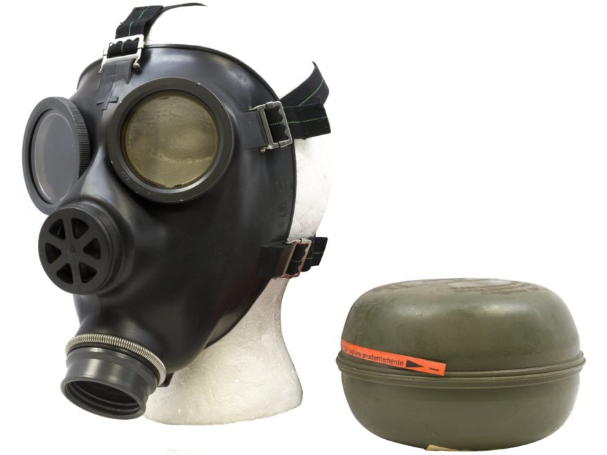 Military Surplus Swiss Gas Mask with Filter and Bag Grade 1 Black