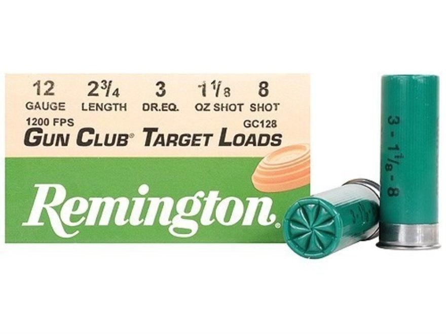"Remington Gun Club Target Ammunition 12 Gauge 2-3/4"" 1-1/8 oz #8 Shot"