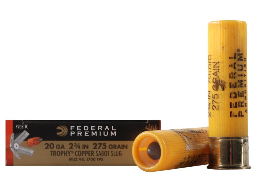 "Federal Premium Vital-Shok Ammunition 20 Gauge 2-3/4"" 275 Grain Trophy Copper Tipped Sa..."