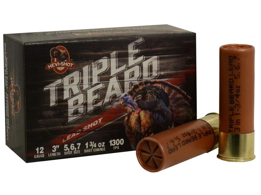 "Hevi-Shot Triple Beard Turkey Ammunition 12 Gauge 3"" 1-3/4 oz #5, #6, & #7 Shot Box of 10"