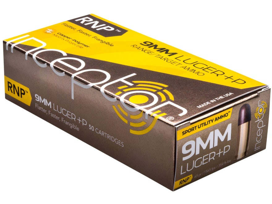 Inceptor Sport Utility Ammunition 9mm Luger +P 65 Grain RNP Frangible Lead-Free Box of 50