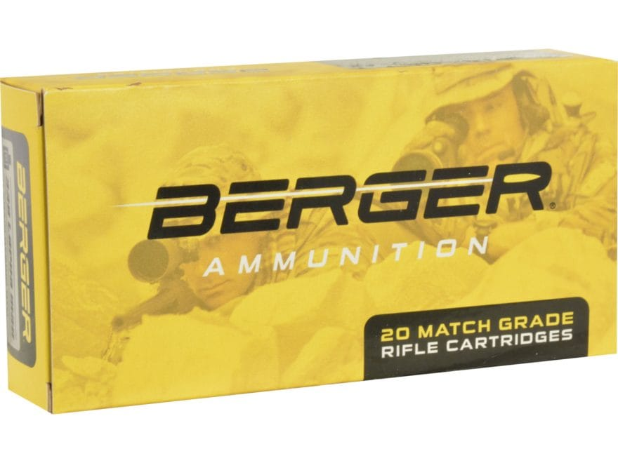 Berger Match Grade Ammunition 308 Winchester 185 Grain Juggernaut OTM Tactical Box of 20