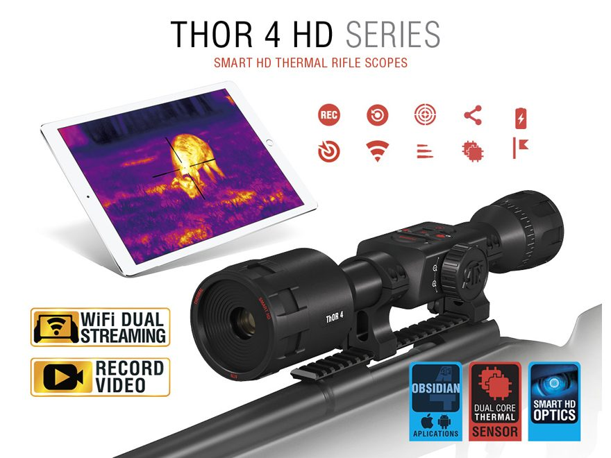 ATN ThOR 4 HD Thermal Rifle Scope 1-10x, 640x480 with HD Video Recording, Wi-Fi, GPS, S...