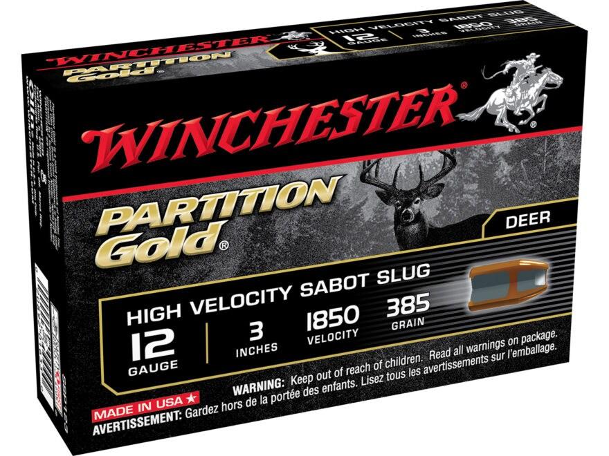 "Winchester Supreme Ammunition 12 Gauge 3"" 385 Grain Partition Gold Sabot Slug"