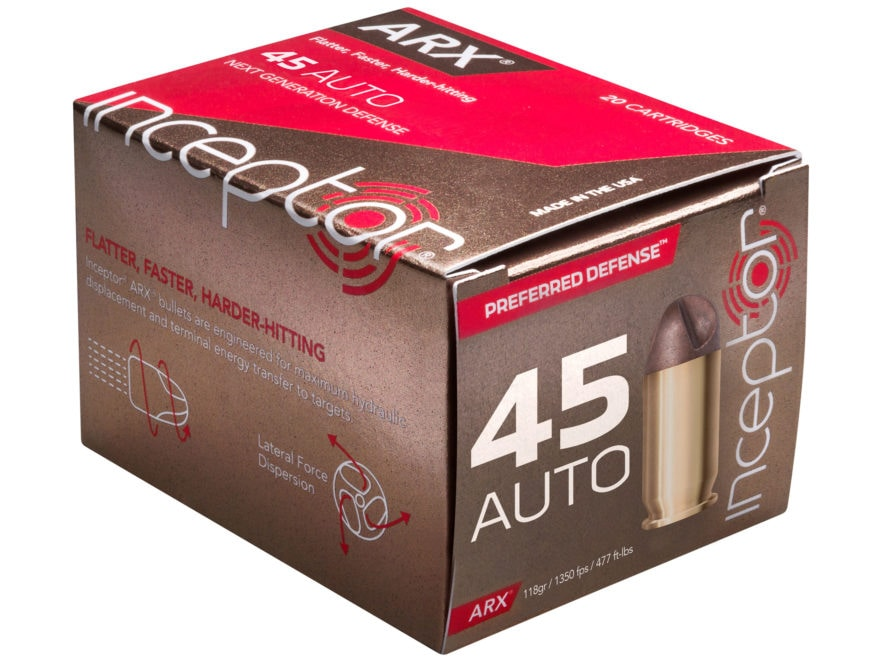 Inceptor Preferred Defense Ammunition 45 ACP 118 Grain ARX Frangible Lead-Free Box of 20