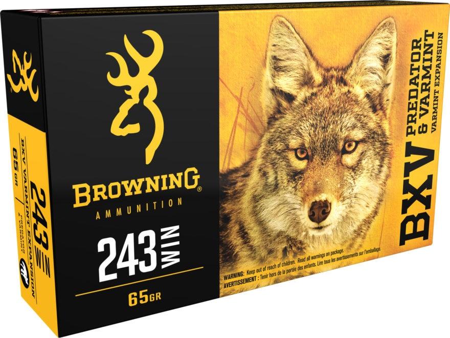 Browning BXV Varmint Expansion Ammunition 243 Winchester 65 Grain Polymer Tip Rapid Exp...
