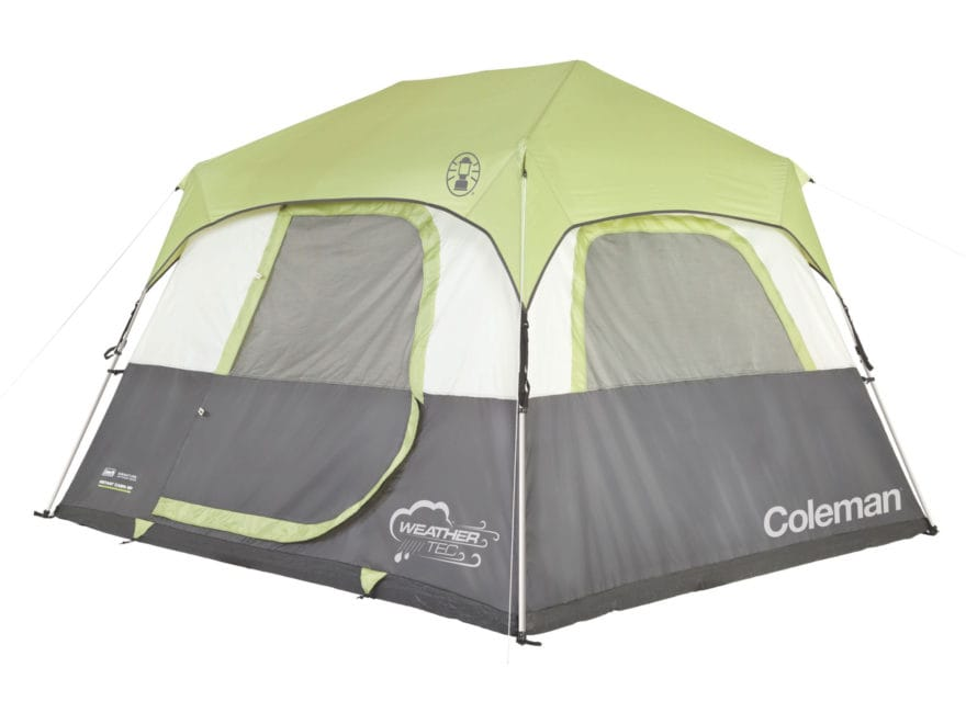 "Coleman Instant 6 Person Cabin Tent 120"" x 108"" x 74"" Polyester Gray and Green"