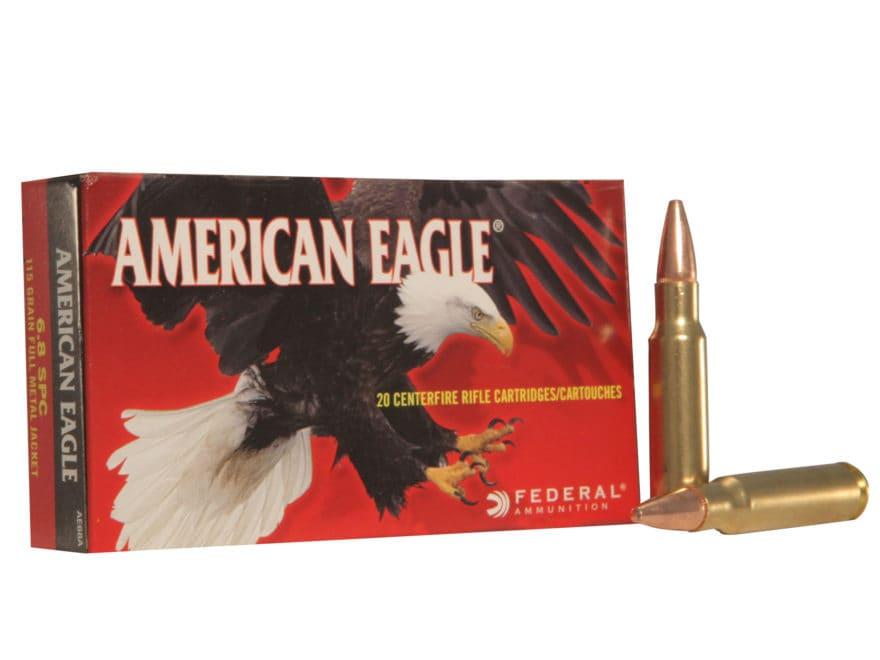 Federal American Eagle Ammunition 6.8mm Remington SPC 115 Grain Full Metal Jacket